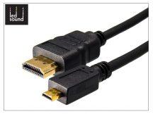LED Sound micro HDMI - HDMI 1.4 3D aranyozott kábel 150 cm-es vezetékkel - fekete