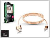 USB - USB Type-C adat- és töltőkábel - LED Sound Premium Type-C 3.0 - gold
