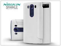 LG V10 H960A oldalra nyíló flipes tok - Nillkin Sparkle - fehér