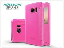 Samsung G930F Galaxy S7 oldalra nyíló flipes tok - Nillkin Sparkle - pink