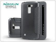 LG K10 K420N oldalra nyíló flipes tok - Nillkin Sparkle - fekete