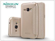 Samsung J120F Galaxy J1 (2016) oldalra nyíló flipes tok - Nillkin Sparkle - gold