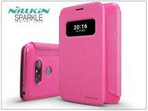LG G5 H850 oldalra nyíló flipes tok - Nillkin Sparkle - pink