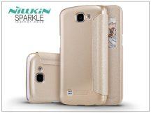 LG K4 K120E oldalra nyíló flipes tok - Nillkin Sparkle - gold