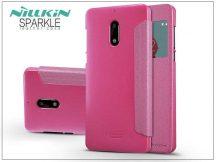 Nokia 6 oldalra nyíló flipes tok - Nillkin Sparkle - pink