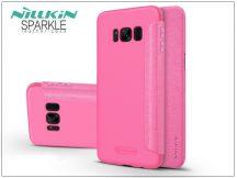 Samsung G955F Galaxy S8 Plus oldalra nyíló flipes tok - Nillkin Sparkle - pink