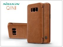 Samsung G955F Galaxy S8 Plus oldalra nyíló flipes tok - Nillkin Qin - barna