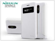 LG K10 M250N (2017) oldalra nyíló flipes tok - Nillkin Sparkle - fehér