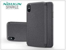 Apple iPhone X oldalra nyíló flipes tok - Nillkin Sparkle - fekete