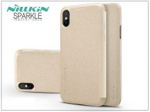 Apple iPhone X oldalra nyíló flipes tok - Nillkin Sparkle - gold