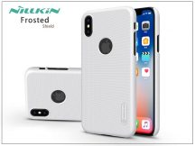 Apple iPhone X hátlap képernyővédő fóliával - Nillkin Frosted Shield Logo - fehér