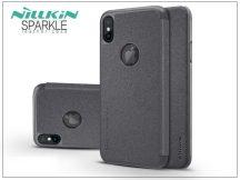 Apple iPhone X oldalra nyíló flipes tok - Nillkin Sparkle Logo - fekete