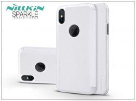 Apple iPhone X oldalra nyíló flipes tok - Nillkin Sparkle Logo - fehér