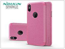 Apple iPhone X oldalra nyíló flipes tok - Nillkin Sparkle - pink