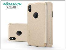 Apple iPhone X oldalra nyíló flipes tok - Nillkin Sparkle Logo - gold