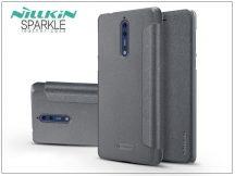 Nokia 8 oldalra nyíló flipes tok - Nillkin Sparkle - fekete