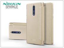 Nokia 8 oldalra nyíló flipes tok - Nillkin Sparkle - gold