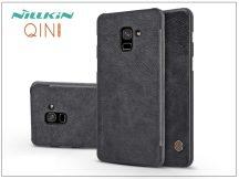 Samsung A730F Galaxy A8 Plus (2018) oldalra nyíló flipes tok - Nillkin Qin - fekete