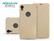 Apple iPhone XR oldalra nyíló flipes tok - Nillkin Sparkle Logo - gold