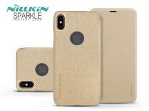Apple iPhone XS Max oldalra nyíló flipes tok - Nillkin Sparkle Logo - gold