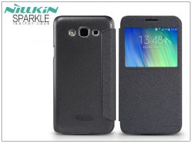 Samsung SM-E700F Galaxy E7 oldalra nyíló flipes tok - Nillkin Sparkle - fekete