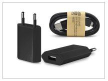 Univerzális USB hálózati töltő adapter + micro USB adatkábel - 5V/1A - black