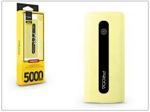 Univerzális hordozható, asztali akkumulátor töltő - Proda E5 Power Bank - 5000 mAh - sárga