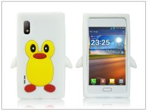 LG E610 Optimus L5 szilikon hátlap - 3D pinguin - fehér