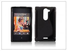 Nokia Asha 502 szilikon hátlap - S-Line - fekete