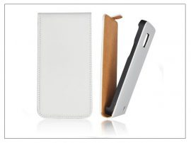Slim Flip bőrtok - Samsung SM-G800 Galaxy S5 Mini - fehér