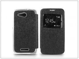 Sony Xperia E4G (E2003) S-View Flexi oldalra nyíló flipes tok - fekete