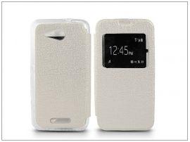 Sony Xperia E4G (E2003) S-View Flexi oldalra nyíló flipes tok - fehér