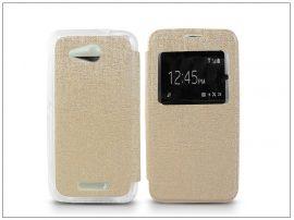 Sony Xperia E4G (E2003) S-View Flexi oldalra nyíló flipes tok - gold