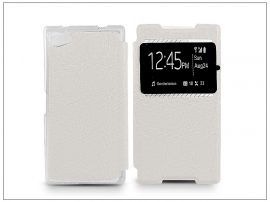 Sony Xperia Z5 Compact (E5803) S-View Flexi oldalra nyíló flipes tok - fehér