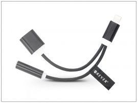 Lightning + USB adapter 3,5 mm jack füllhallgatóhoz - 2in1 - fekete