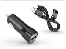 USB szivargyújtó töltő adapter + micro USB adatkábel 100 cm-es vezetékkel - 5V/1A - fekete