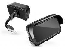 """Univerzális kerékpárra/motorkerékpárra szerelhető, por- és cseppálló telefontartó 5,5-6,3"""", méretű készülékekhez - fekete"""