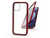 Apple iPhone 12 Mini mágneses, 2 részes hátlap előlapi üveggel - Magneto 360 - piros