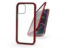 Apple iPhone 12 Pro Max mágneses, 2 részes hátlap előlapi üveggel - Magneto 360 - piros