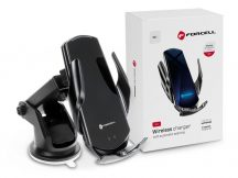 Forcell univerzális Qi vezeték nélküli, szellőzőrácsba illeszthető autós tartó/gyorstöltő - 15 W - Forcell HS1 - Qi szabványos - fekete
