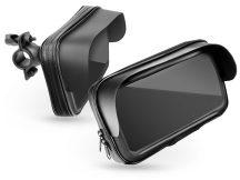 """Univerzális kerékpárra szerelhető, por- és cseppálló telefontartó 5,5-6,3"""", méretű készülékekhez - fekete"""