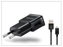 Samsung gyári USB hálózati töltő adapter + micro USB adatkábel - 5V/1A - ETA0U81EBE black (ECO csomagolás)