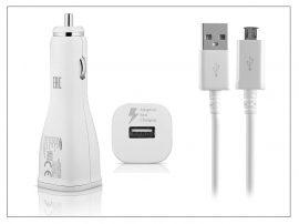 Samsung gyári USB szivargyújtós töltő + micro USB adatkábel - 5V/2A - EP-LN915U+ECB-DU4AWE/EWE white - Adaptive Fast Charging (ECO csomagolás)