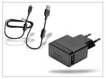 Sony USB gyári hálózati töltő adapter + micro USB adatkábel - 5V/1A - EP880+EC700 black (csomagolás nélküli/enyhén karcos)
