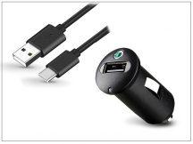 Sony gyári USB szivargyújtós töltő adapter + Type-C adatkábel - 5V/1,2A - AN400+Sony UCB20 Type-C 2.0 (ECO csomagolás)