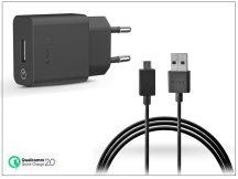 Sony USB gyári hálózati töltő adapter + micro USB adatkábel - QC 2.0 - 5V/1,8A, 9V/1,7A, 12V/1,27A - UCH10 + UCB16 black (ECO csomagolás)