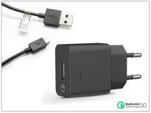 Sony USB gyári hálózati töltő adapter + micro USB adatkábel - QC 2.0 - 5V/1,8A, 9V/1,7A, 12V/1,27A - UCH10 + UCB11 black (ECO csomagolás)