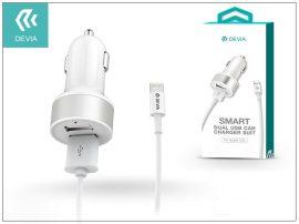 Apple iPhone Lightning szivargyújtós töltő adapter + lightning adatkábel - 5V/2,4A - Devia Smart Dual Car - white