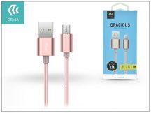 USB - micro USB adat- és töltőkábel 1,5 m-es vezetékkel - Devia Gracious Cable for Android 2.1 - rose gold