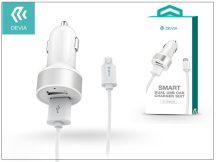 Univerzális Dual USB szivargyújtó töltő adapter + micro USB adatkábel 1 m-es vezetékkel - 5V/2,4A - Devia Smart Dual USB Car Charger Suit - white